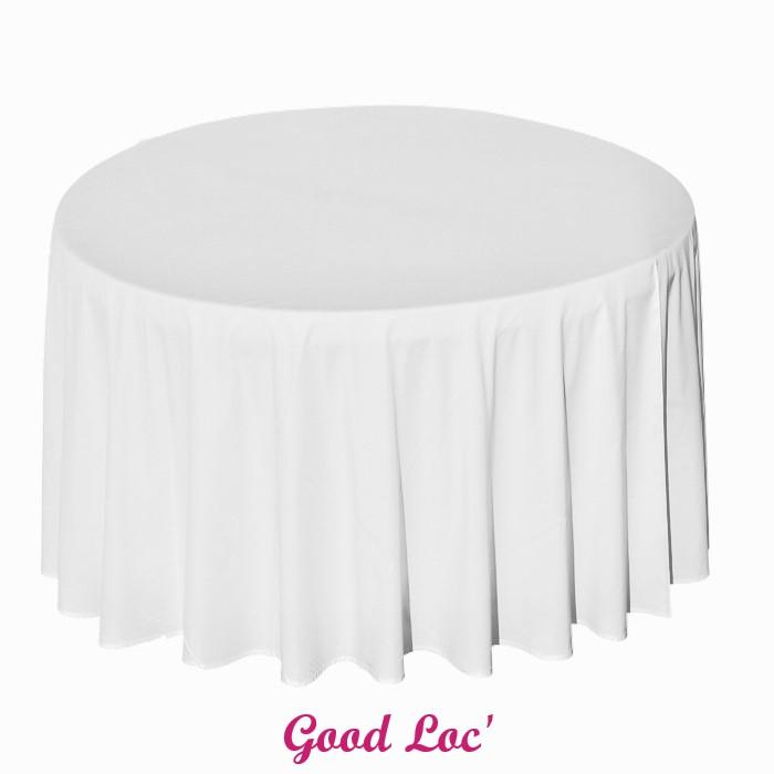 Location nappe ronde blanche polyester